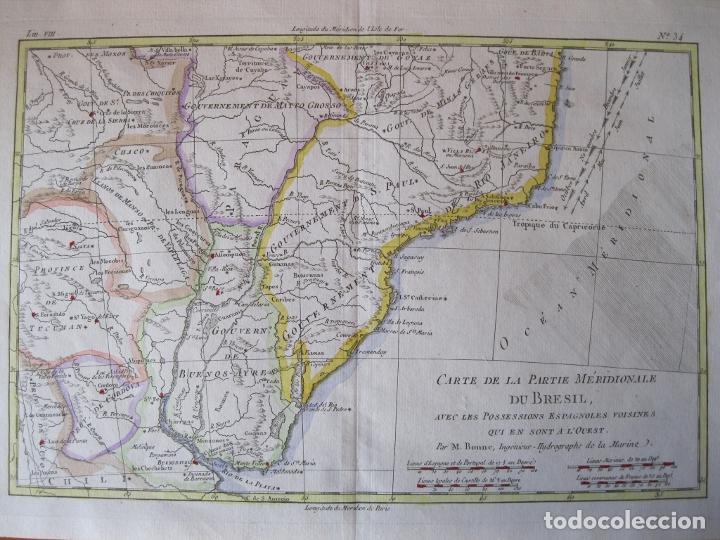 MAPA A COLOR DEL SUR DE BRASIL, PARAGUAY, URUGUAY..., 1781. BONNE (Arte - Cartografía Antigua (hasta S. XIX))