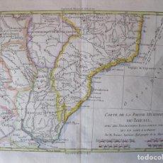 Arte: MAPA A COLOR DEL SUR DE BRASIL, PARAGUAY, URUGUAY..., 1781. BONNE. Lote 214173318