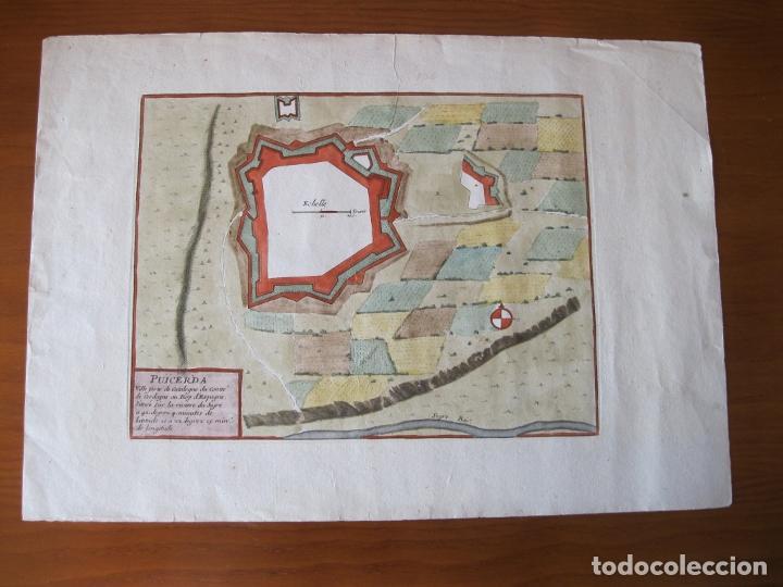 Arte: Mapa a color de la fortaleza de Puigcerdá en Gerona (Cataluña, España), 1693. Nicolás de Fer - Foto 2 - 214174701