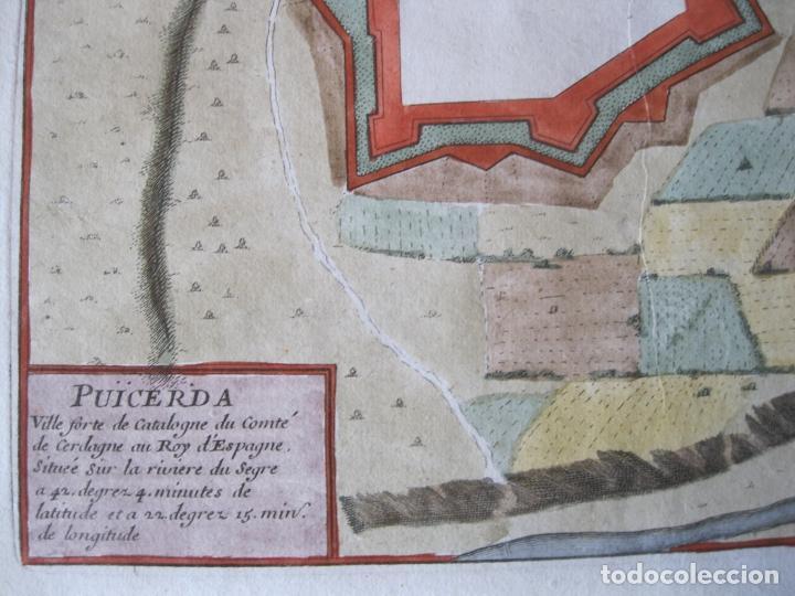 Arte: Mapa a color de la fortaleza de Puigcerdá en Gerona (Cataluña, España), 1693. Nicolás de Fer - Foto 3 - 214174701