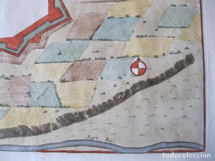Arte: Mapa a color de la fortaleza de Puigcerdá en Gerona (Cataluña, España), 1693. Nicolás de Fer - Foto 4 - 214174701