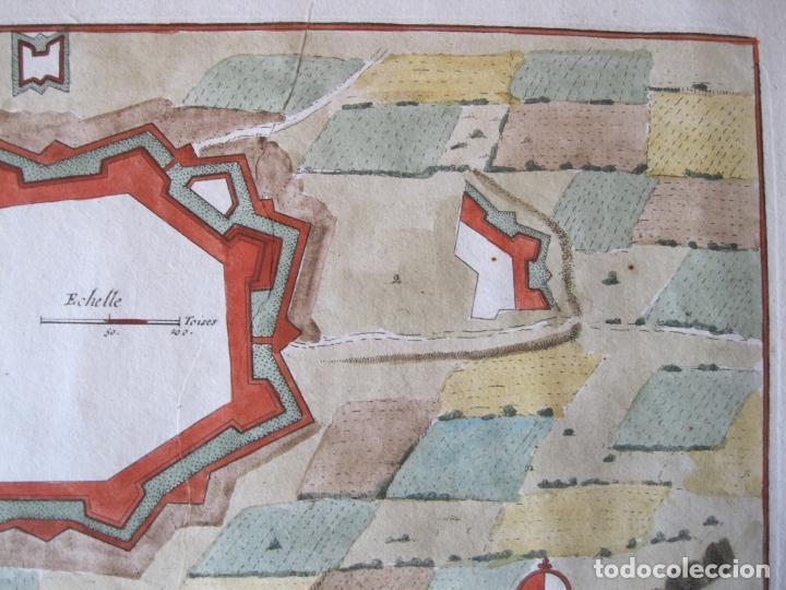 Arte: Mapa a color de la fortaleza de Puigcerdá en Gerona (Cataluña, España), 1693. Nicolás de Fer - Foto 5 - 214174701