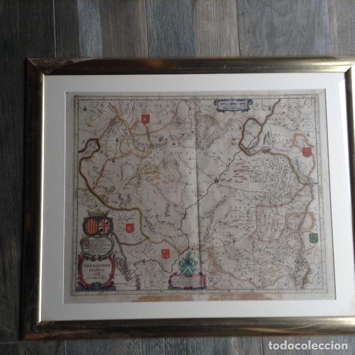 MAPA REINO DE ARAGÓN, JOHANNES BATISTE LABANHA BLEAU SIGLO XVII ORIGINAL (Arte - Cartografía Antigua (hasta S. XIX))