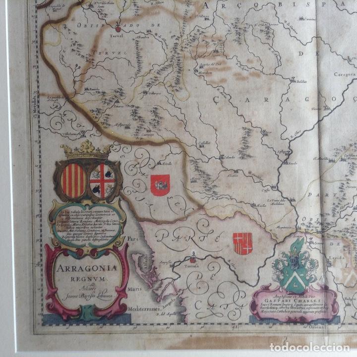 Arte: Mapa Reino de Aragón, Johannes Batiste Labanha Bleau siglo XVII original - Foto 2 - 214747437