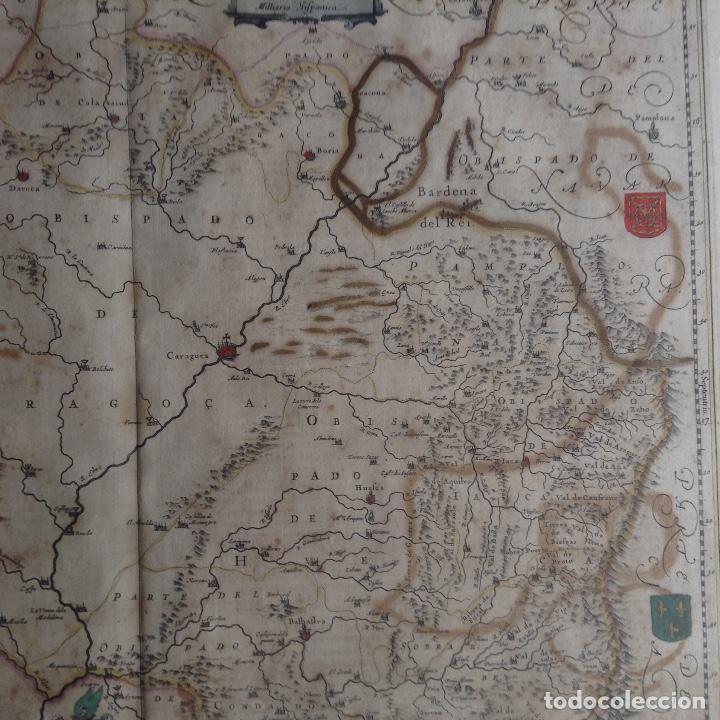 Arte: Mapa Reino de Aragón, Johannes Batiste Labanha Bleau siglo XVII original - Foto 3 - 214747437