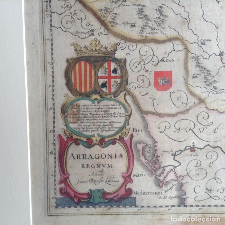 Arte: Mapa Reino de Aragón, Johannes Batiste Labanha Bleau siglo XVII original - Foto 6 - 214747437