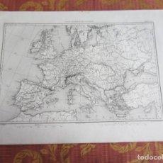 Arte: 1864-MAPA PLANO EUROPA ESPAÑA FRANCIA ITALIA ALEMANIA. ORIGINAL. Lote 215362995