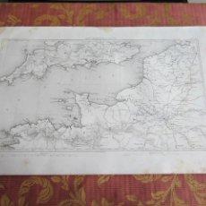 Arte: 1864-MAPA ORIGINAL-PLANO. CANAL DE LA MANCHA. FRANCIA INGLATERRA. Lote 215363600
