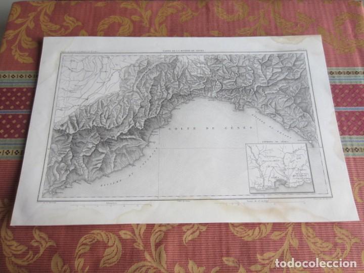 1864-PLANO DE LA RIVIERA DE GENOVA.GENES.FINALE.NOLI.LEVANTE.CHIAVARI.ITALIA. MAPA PLANO ORIGINAL (Arte - Cartografía Antigua (hasta S. XIX))