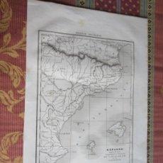 Art: 1836-MAPA CATALUÑA Y VALENCIA.BARCELONA.TARRAGONA.TORTOSA.PEÑISCOLA.DENIA.GANDÍA.ORIGINAL. Lote 216847475