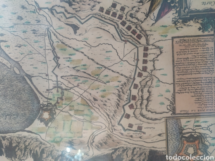 Arte: Antiguo gravado coloreado, mapa de la Villa de Rosas - Foto 2 - 217113457