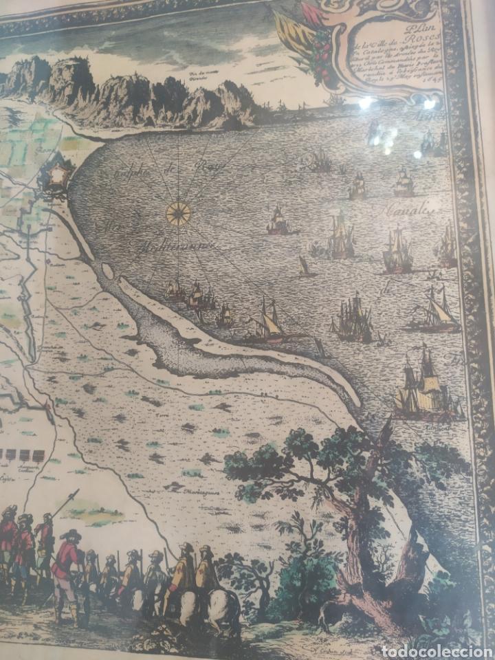 Arte: Antiguo gravado coloreado, mapa de la Villa de Rosas - Foto 3 - 217113457