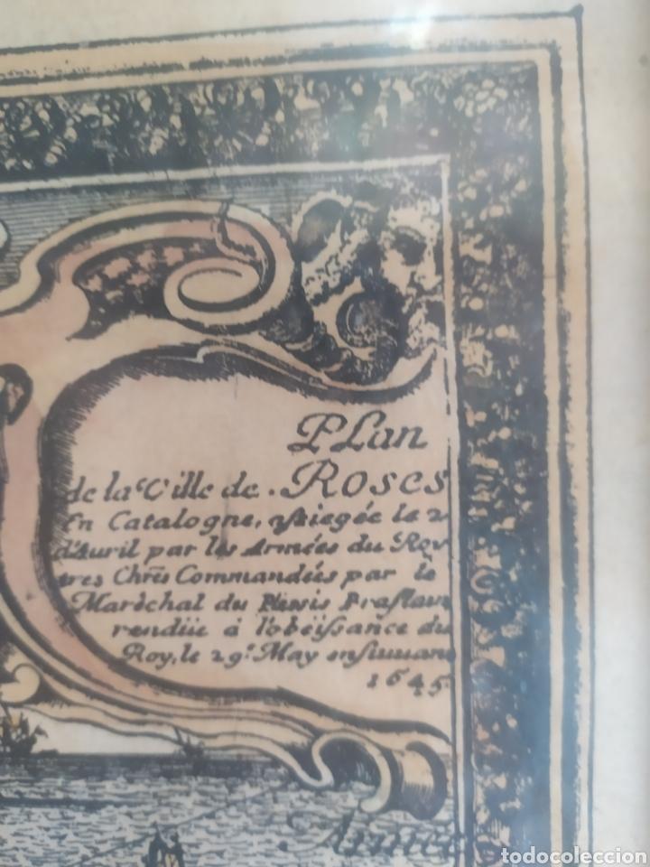 Arte: Antiguo gravado coloreado, mapa de la Villa de Rosas - Foto 4 - 217113457
