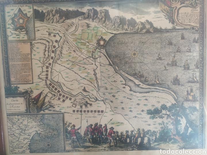 ANTIGUO GRAVADO COLOREADO, MAPA DE LA VILLA DE ROSAS (Arte - Cartografía Antigua (hasta S. XIX))