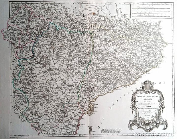 MAPA CORONA DE ARAGON - NAVARRA - PRINCIPADO DE CATALUÑA - 1752 - VAUGONDY - 80X55CM - MARCA AGUA (Arte - Cartografía Antigua (hasta S. XIX))