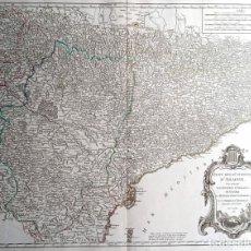 Arte: MAPA CORONA DE ARAGON - NAVARRA - PRINCIPADO DE CATALUÑA - 1752 - VAUGONDY - 80X55CM - MARCA AGUA. Lote 217227888