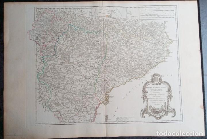 Arte: MAPA CORONA DE ARAGON - NAVARRA - PRINCIPADO DE CATALUÑA - 1752 - VAUGONDY - 80x55cm - marca agua - Foto 3 - 217227888