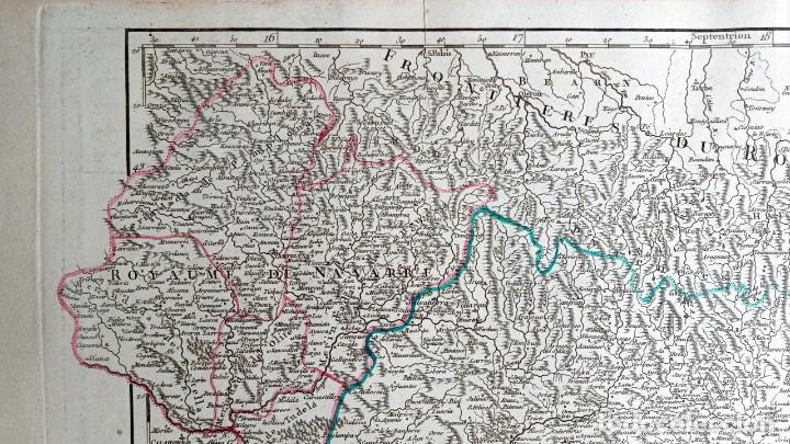Arte: MAPA CORONA DE ARAGON - NAVARRA - PRINCIPADO DE CATALUÑA - 1752 - VAUGONDY - 80x55cm - marca agua - Foto 10 - 217227888