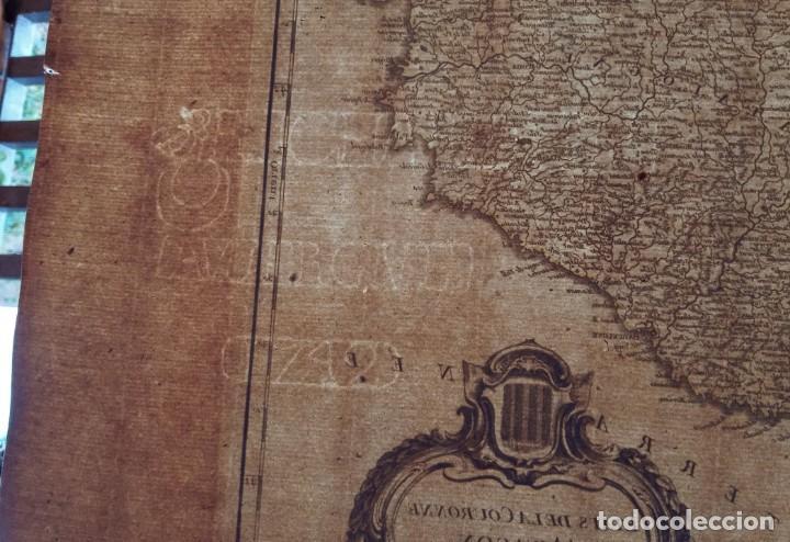 Arte: MAPA CORONA DE ARAGON - NAVARRA - PRINCIPADO DE CATALUÑA - 1752 - VAUGONDY - 80x55cm - marca agua - Foto 23 - 217227888