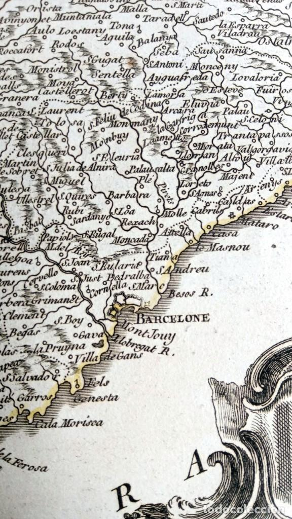 Arte: MAPA CORONA DE ARAGON - NAVARRA - PRINCIPADO DE CATALUÑA - 1752 - VAUGONDY - 80x55cm - marca agua - Foto 24 - 217227888