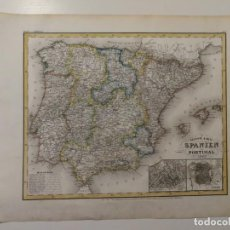 Art: MAPA ANTIGUO SIGLO XIX PENINSULA ESPAÑA PORTUGAL MADRID LISBOA PLANO RADEFELD 1843. Lote 217231638