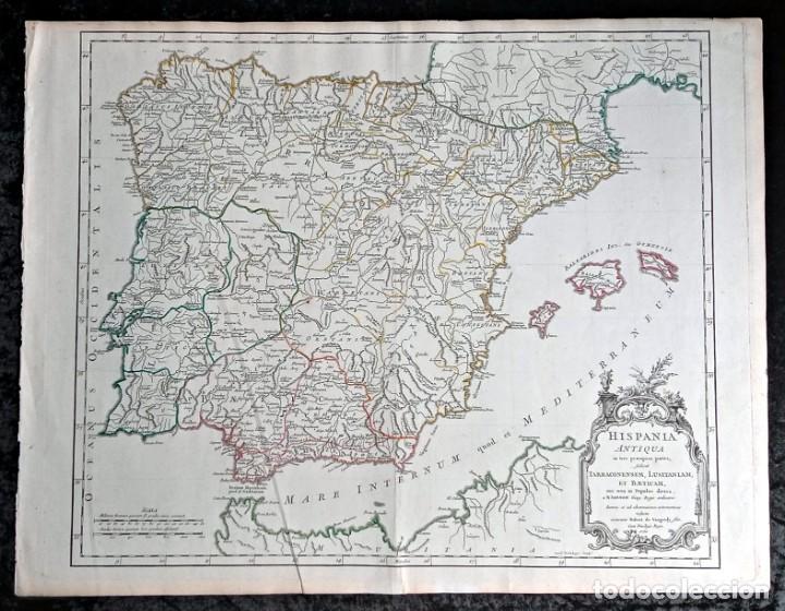 Arte: HISPANIA ANTIQUA - 1750 - TARRACONENSEM - LUSITANIAM ET BAETICAM - ROBERT DE VAUGONDY - Foto 2 - 217641726