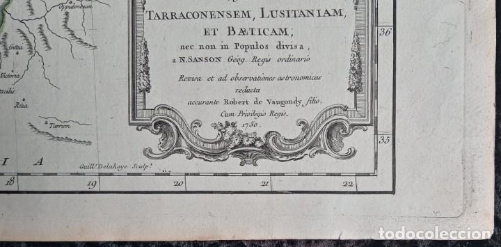 Arte: HISPANIA ANTIQUA - 1750 - TARRACONENSEM - LUSITANIAM ET BAETICAM - ROBERT DE VAUGONDY - Foto 5 - 217641726