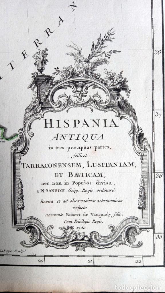 Arte: HISPANIA ANTIQUA - 1750 - TARRACONENSEM - LUSITANIAM ET BAETICAM - ROBERT DE VAUGONDY - Foto 7 - 217641726