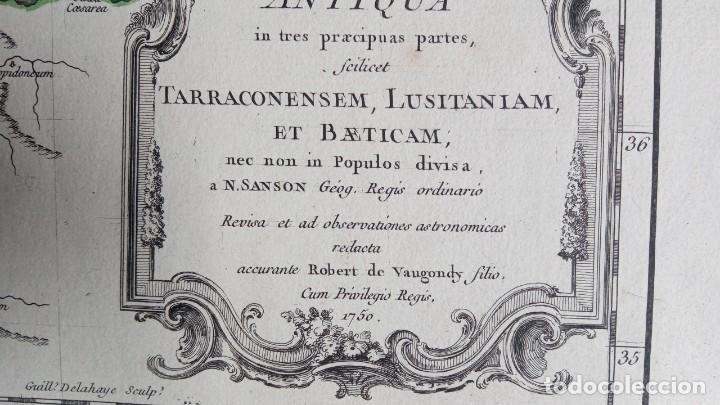 Arte: HISPANIA ANTIQUA - 1750 - TARRACONENSEM - LUSITANIAM ET BAETICAM - ROBERT DE VAUGONDY - Foto 8 - 217641726