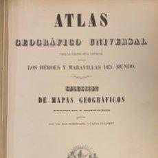 Arte: ATLAS GEOGRÁFICO UNIVERSAL PARA LA GRANDE OBRA HISTORIAL TITULADA LOS HÉROES Y MARAVILLAS DEL MUNDO.. Lote 218121490