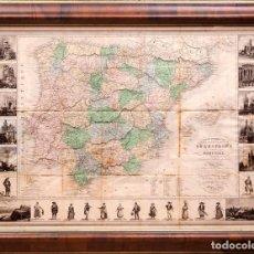 Arte: ESPAÑA Y PORTUGAL - RUTAS REALES - C. 1750 - ILUMINADO A MANO. Lote 218598875