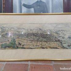 Arte: GRABADO COLOREADO DEL ASEDIO FRANCÉS A LA CIUDAD DE BARCELONA. Lote 219008455