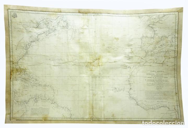 1800/1805 CARTA ESFÉRICA GENERAL DEL OCÉANO ATLÁNTICO U OCCIDENTAL (Arte - Cartografía Antigua (hasta S. XIX))