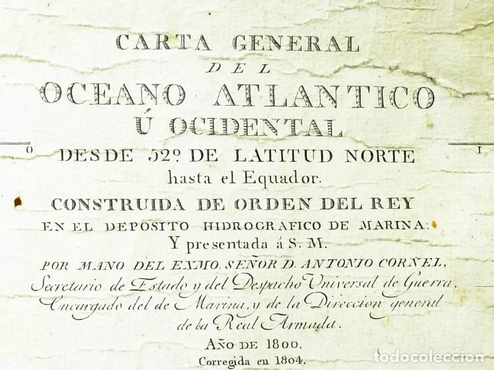 Arte: 1800/1805 Carta esférica general del Océano Atlántico u Occidental - Foto 2 - 221569242