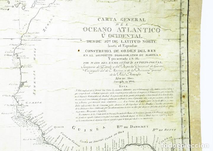 Arte: 1800/1805 Carta esférica general del Océano Atlántico u Occidental - Foto 3 - 221569242