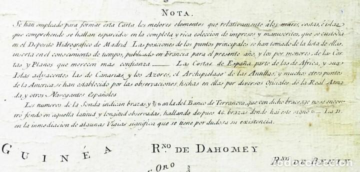 Arte: 1800/1805 Carta esférica general del Océano Atlántico u Occidental - Foto 4 - 221569242
