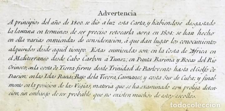 Arte: 1800/1805 Carta esférica general del Océano Atlántico u Occidental - Foto 5 - 221569242