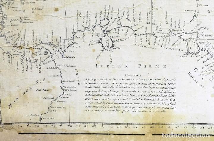 Arte: 1800/1805 Carta esférica general del Océano Atlántico u Occidental - Foto 7 - 221569242