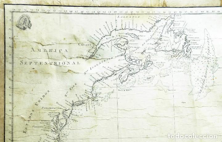Arte: 1800/1805 Carta esférica general del Océano Atlántico u Occidental - Foto 8 - 221569242