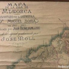 Arte: MAPA DE LA ISLA DE MENORCA LEVANTADO POR EL GEOMETRA MIGUEL SORÁ EN 1860 Y 1861 PUBLICADO..... Lote 221938308