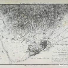 Arte: MAPA DEL ASEDIO DE BARCELONA DE 1808 - GUERRA DEL FRANCES - VACANI - GRAN FORMATO. Lote 222416350