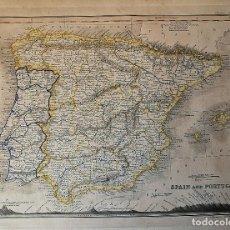 Arte: MAPA ESPAÑA Y PORTUGAL, GRABADO. AUTOR J. DOWER. Lote 222443170