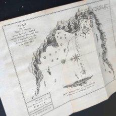 Arte: 1750 CA. MAPA ISLA DE CHILE DESCUBIERTA POR EL ALMIRANTE BRITÁNICO GEORGE ANSON. GRABADO AL COBRE. Lote 222464151