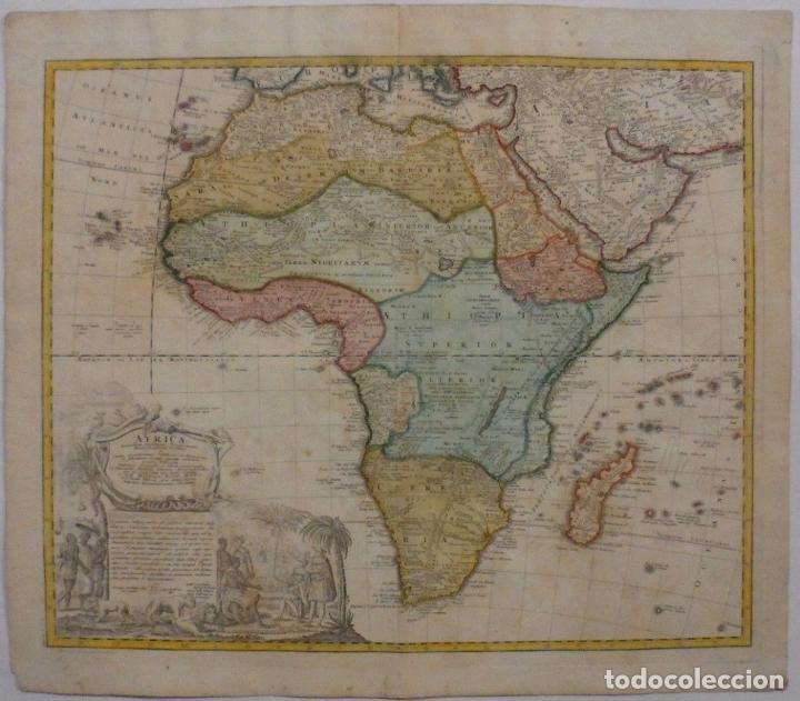 GAN MAPA A COLOR DE ÁFRICA, 1737. J. B. HOMANN Y HEREDEROS (Arte - Cartografía Antigua (hasta S. XIX))