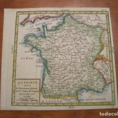 Arte: MAPA DE FRANCIA A COLOR, 1761. VAUGONDY/CROZAT. Lote 222988852
