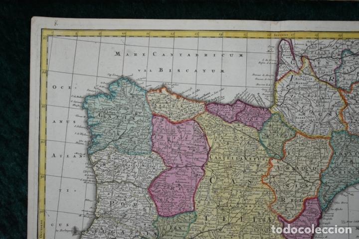 Arte: Gran mapa a color de España y Portugal, hacia 1750. Delisle/Seutter - Foto 2 - 223094152
