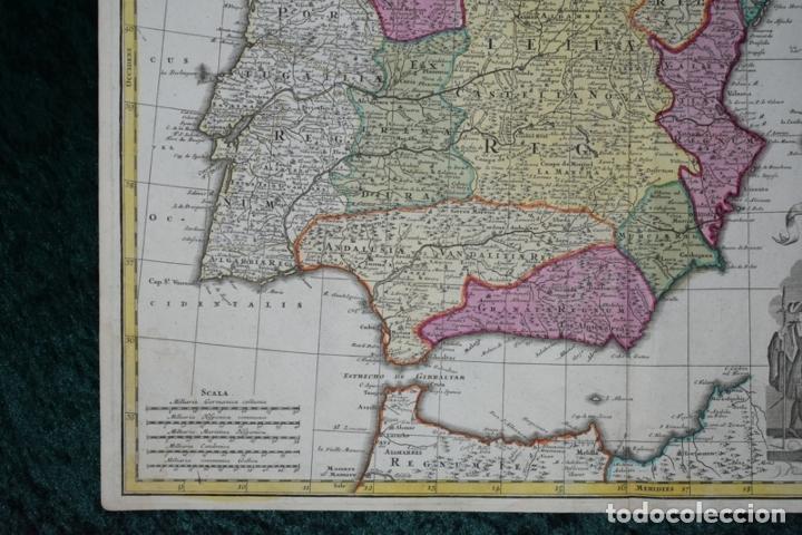 Arte: Gran mapa a color de España y Portugal, hacia 1750. Delisle/Seutter - Foto 3 - 223094152