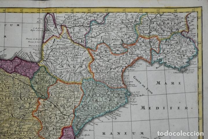 Arte: Gran mapa a color de España y Portugal, hacia 1750. Delisle/Seutter - Foto 4 - 223094152