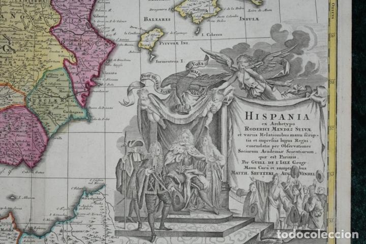Arte: Gran mapa a color de España y Portugal, hacia 1750. Delisle/Seutter - Foto 5 - 223094152