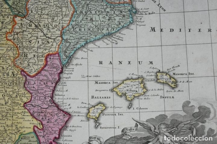 Arte: Gran mapa a color de España y Portugal, hacia 1750. Delisle/Seutter - Foto 6 - 223094152